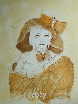 Jean HEINE Jeune femme au chapeau LITHOGRAPHIE originale signée #600ex