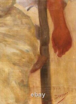 Jean-Jacques Drogue tableau femme portrait Art Nouveau Lyon impressionnisme