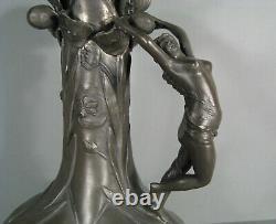 Jean Maurice Petizon Petiz Pichet Étain Style Art Nouveau Décor Femme Cambree