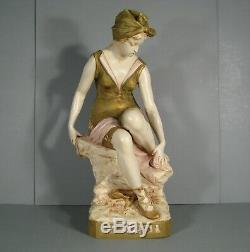 Jeune Femme Nageuse Epoque 1900 Grande Sculpture Art Nouveau Royal Dux Bohemia