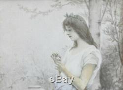 Jeune femme à la fleur peinture sur porcelaine circa 1890 ART NOUVEAU signature