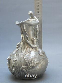 Jm Petizon Vase Etain Art Nouveau Sculpture Femme 1900 Galle