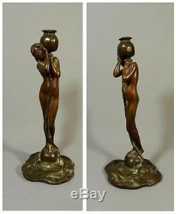 Jugendstil Bronze Sculpture Lampe Epoque Art Nouveau, Femme Fleur, Nymphe Dryade