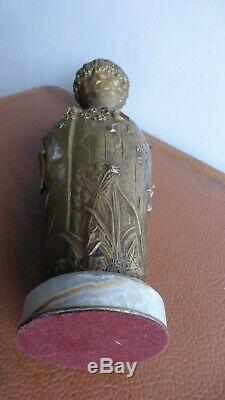 Jules André MELIODON. Vase bronze doré femme et faune. Art Nouveau. Antique vase