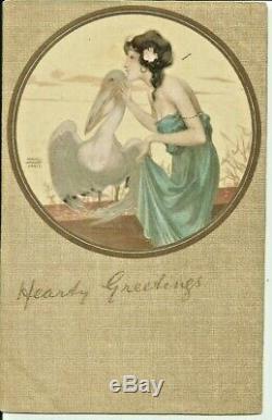 KIRCHNER Raphael, art nouveau la femme au pélican cpa belle et rare