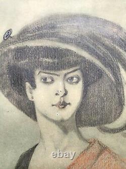 Karl Jozsa Dessin Original Elegante Chapeau Portrait De Femme Art Nouveau Vienne
