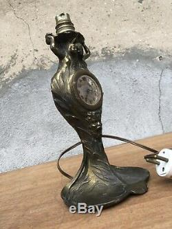 LAMPE Réveil Pendule ART NOUVEAU Doré A Décor De Femme Diable Poisson Nénuphar