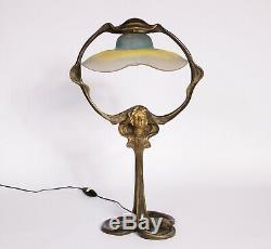 Lampe Art Nouveau Femme En Bronze De sibeud Tulipe De Daum Nancy