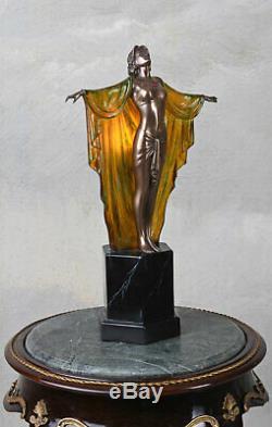 Lampe de Table Art Déco Sculpture Femme Fatale Lumière Chevet Neuf
