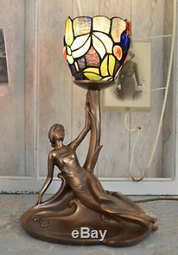 Lampe de Table Art Nouveau Tiffany Style Sculpture Féminine Lampe