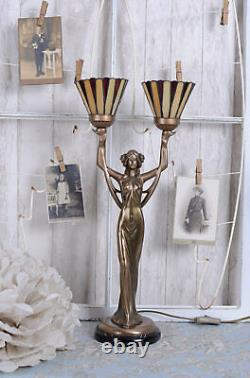 Lampe de table Art Nouveau abat-jour Tiffany Style femme sculpture lampe neuf