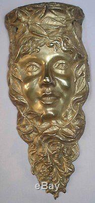 Larges Figures de Femme-Fleur souriante Bronze Ornemental Art Nouveau