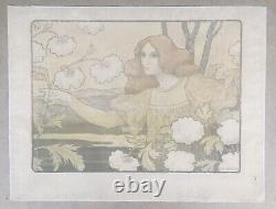 Lithographie Ancienne Art Nouveau Portrait Femme Rousse Paysage Paul Berthon