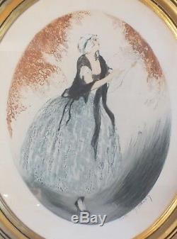 Lithographie art nouveau femme ovale signé Hardy 77/310