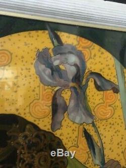 Lithographie de Mary GOLAY femme aux Iris 1900 art nouveau