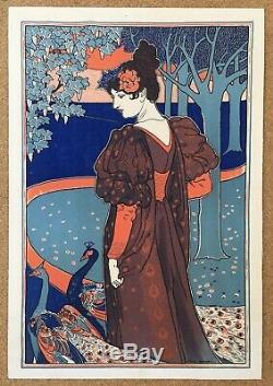 Lithographie originale Art Nouveau Femme au paon Louis Rhead style Mucha 1899