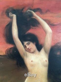 Louis HIERLE 1898 Peinture HSP Femme Nu Art Nouveau French Painting Erotique