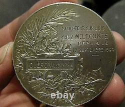MEDAILLE ARGENT CH. PILLET FEMME NUE, ART NOUVEAU SILVER medal 4,6cm, 46gr