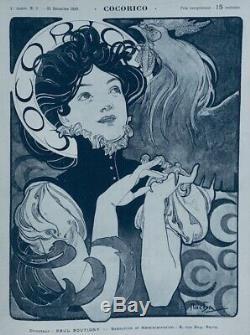 MUCHA Alfons 1898 ORIGINAL LITHOGRAPHIE'La Femme au Coq' Art nouveau