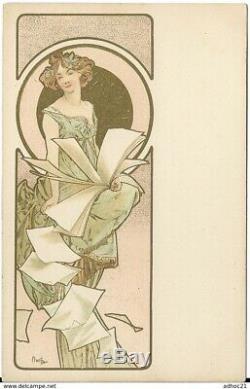 MUCHA Femme art nouveau rêverie très bon état signée vers 1898