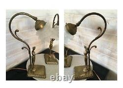 Magnifique Paire De Lampe Femme Nue Signée Moreau Bronze Art Nouveau