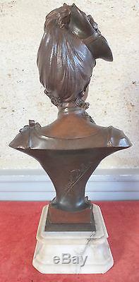 Marcel Debut bronze femme au chapeau art nouveau sculpture statue