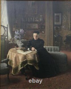 Max Volkhart 1848-1924 Intérieur Avec Femme Am Table Gründerzeit Art Nouveau