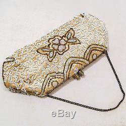 Minaudière Sac De Soirée Art Nouveau Perles Beaded Evening Bag Circa 1910