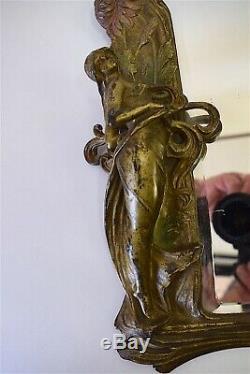 Miroir à suspendre Art Nouveau métal peint femme fleur 1900 Jugendstil