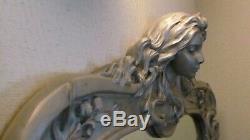 Miroir style ART NOUVEAU décor tête jeune femme très bon état