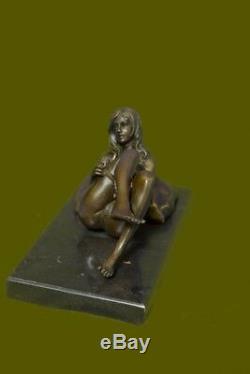 Moderne Art Nouveau Abstrait Nu Femme Fille 100% Sculpture Bronze par Mavchi