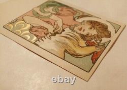 Mucha A cpa illustrateur Femme au coq 1900 art nouveau dos non divisé originale