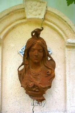 Mur / Jardin Décoration Art Nouveau -schöner Fer Tête de Femme Tournant Du