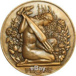 O6525 Rare Médaille ART NOUVEAU Delannoy Femme nue Flore SPLENDIDE