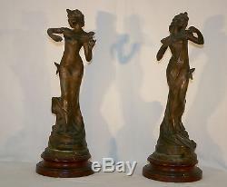 PAIRE de STATUES ART NOUVEAU 1900 par CAUSSE CADET FEMME Libellule & Papillon