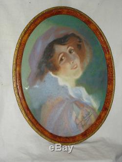 PASTEL DE JEUNE FEMME SIGNE GEORGES CHABERCOL 1930 44 X 33 cm