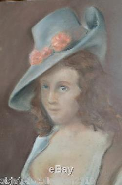 PORTRAIT PASTEL FEMME au CHAPEAU & SEINS Dévoilés ART NOUVEAU fin XIXe non signé