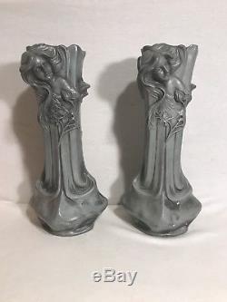 Paire Ancien Vase Régule FLORA Art Nouveau Buste Femme Signé Vintage