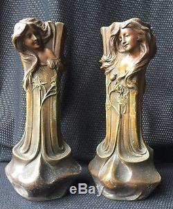 Paire De Vases Art Nouveau En Régule Décor Femme 1900 Signés Flora