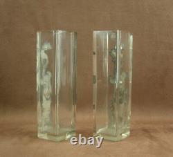 Paire De Vases Art Nouveau Verre Et Application Metal Decor De Femme 1900 Wmf
