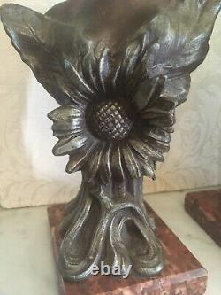 Paire de Bustes de Femmes en Régule par Guillemin Art Nouveau