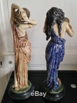 Paire de Femmes Naiades en Céramique barbotine Art nouveau style DECK