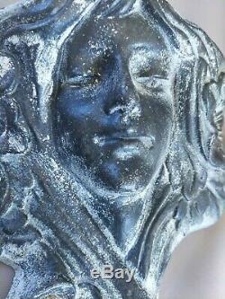 Paire de bouquetières appliques Art Nouveau visages de femmes en fonte