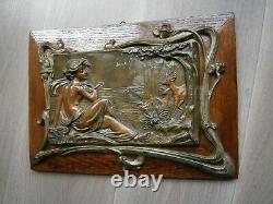 Panneau Art Nouveau N°1 Metal Bois Chene Decor Femme Volute Vegetal 1900