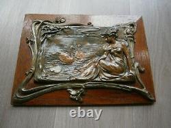 Panneau Art Nouveau N°2 Metal Bois Chene Decor Femme Volute Vegetal 1900