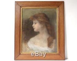 Pastel dessin tableau portrait jeune femme Art Nouveau XIXème siècle
