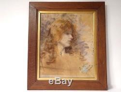 Pastel dessin tableau portrait jeune femme signé Art Nouveau XIXème siècle