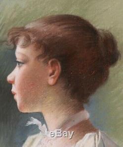 Pastel tableau dessin portrait femme jeune fille enfant profil Art Nouveau 1900