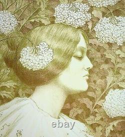 Paul BERTHON Profil de femme Lithographie originale, Signée, 1900