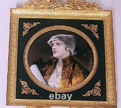 Paul BONNAUD EMAUX art nouveau Portrait de jeune femme dans un cadre en bronze